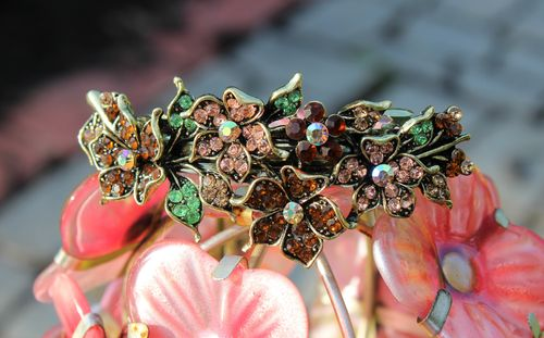 Flower Hair Clip Barrette with A Sparkling Display of Natural Tone Crystals