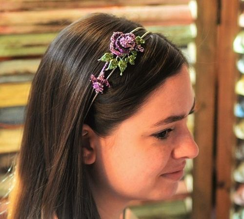 Lavender Purple Head Band Rhinestones Rose Elegant Flower Hair Accessory