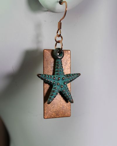 Mykonos Blue Patina Starfish Earrings with Vintage Artisan Copper  (Handmade)