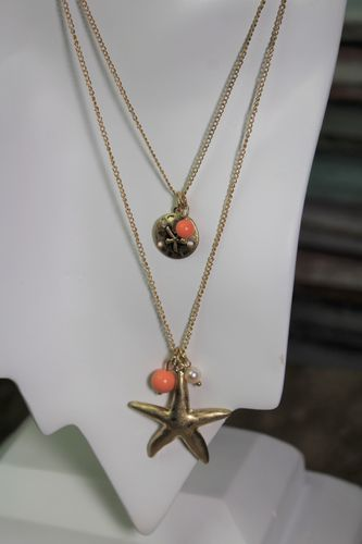 Starfish and Sand Dollar Layer Necklace and Earrings Set in Gold and Coral