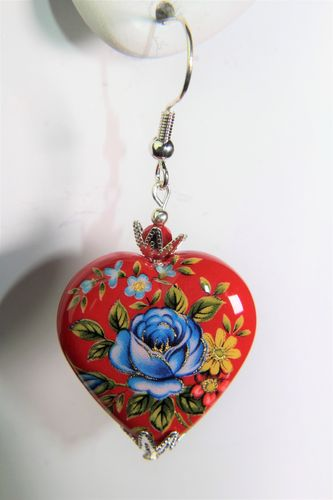 Red with Blue Rose Heart Japanese Tensha Beads Earrings (Handmade)