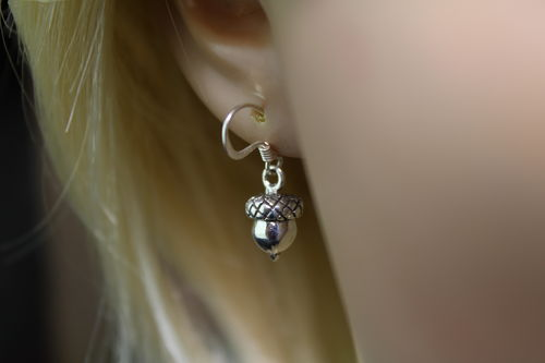 Sterling Silver Acorn Earrings Petite Size for Minimalist Great Texture Detail