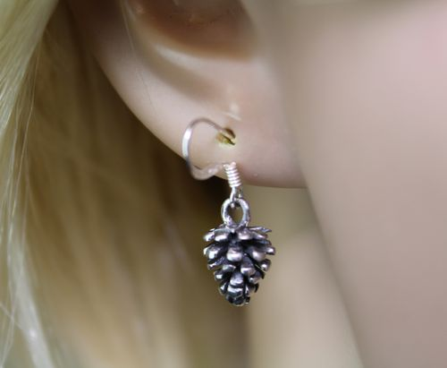 Sterling Silver Pine Cone Earrings Petite Minimalist Great Texture and Detail