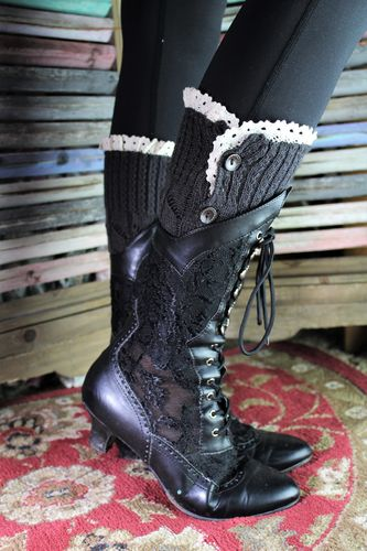 Leg Warmers Boot Toppers Gray with Button and Lace Patterned Knit
