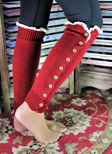 Leg Warmers Boot Toppers Red Lacy Long Sexy Button Down with Lace Top