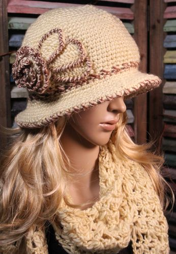 Crochet Brim Hat and Scarf Set Flower Design Shiny Metallic Yarn and Rhinestones