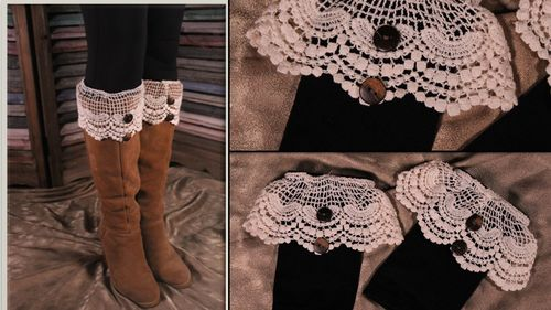 Lacy Boot Cuffs Toppers Ivory Scalloped Lace and Button Victorian Steampunk Style
