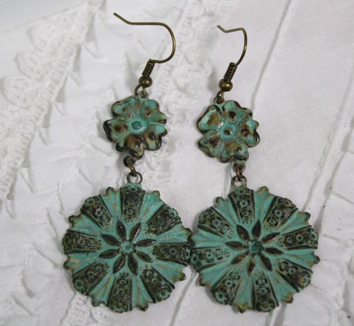 Green Patina Over Brass Earrings Boho Style Flower Medallion Dangle (Handmade)