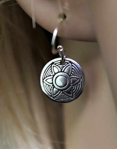 Sterling Silver Aztec Sunburst Earrings Petite Minimalist with Cosmos Theme