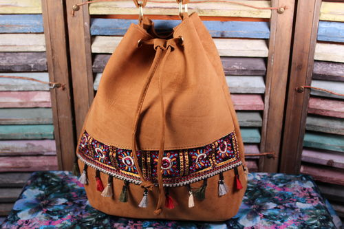 Brown Cross Body Bag Vegan Suede Leather Boho Embroidery Fringe and Tassel
