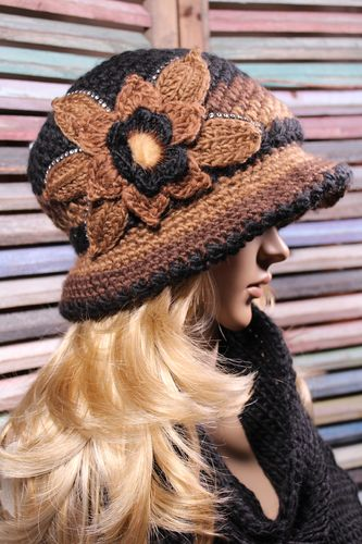 Crochet Brim Hat and Scarf Set Flower Design with Furry Center and Rhinestones