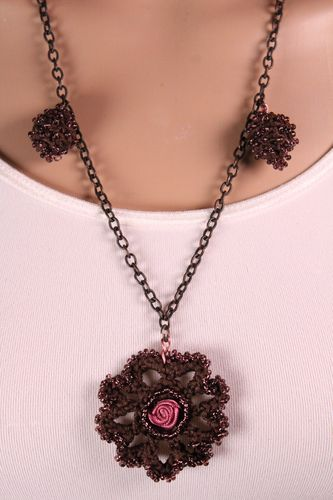 Romantic Embroidered Crochet Necklace with Satin Rose Center and Copper Chain (Handmade)