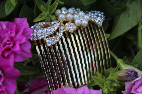 Flower and Ribbon Hair Comb with Pearls and Rhinestones Bridal Wedding Theme