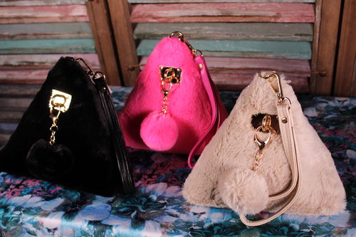 Vegan Fur Wrist Clutch Bag with Pom Pom Charm and Fun Furry Pyramid Shape
