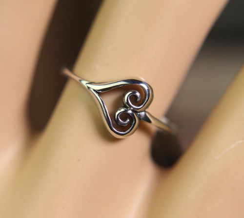 Sterling Silver Celtic Heart Ring Dainty Minimalist Fancy Scroll Symbol of Love