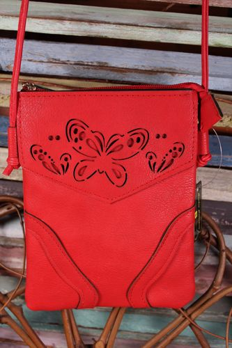 Red Handbag Laser Cut Butterfly Faux Leather Crossbody HandBag Purse