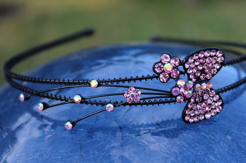 Pink Crystal Bow and Flowers Hairband Wire Wrapped Headband Hair Accessory