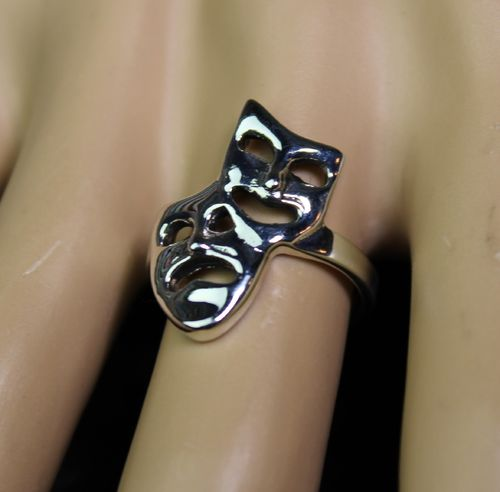 Sterling Silver Comedy Tragedy Ring Drama Masks Theater Symbol of Emotion