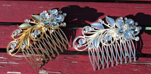 Fancy Flower Hair Comb with Crystal Rhinestones and Brushed Metal Leaves