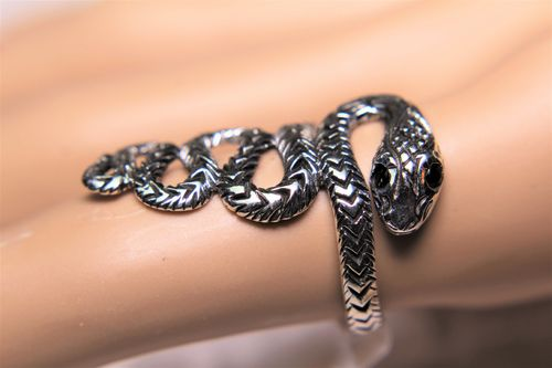 Sterling Silver Snake Ring with Synthetic Black Onyx Eyes Serpentine Jewelry