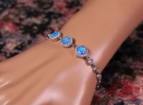 Sterling Silver Bracelet with Opals and Cubic Zirconia Frames and Filled Chain