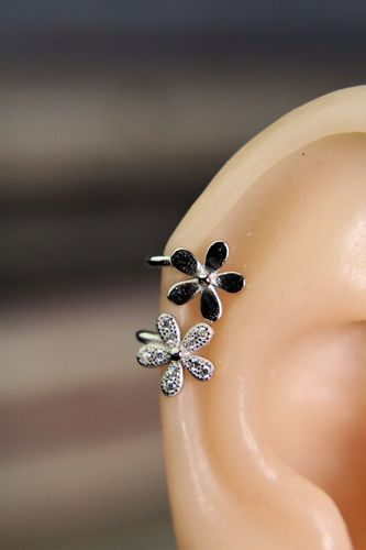 Sterling Silver Flowers Ear Cuffs with Cubic Zirconia Pave Daisy Floral Earrings