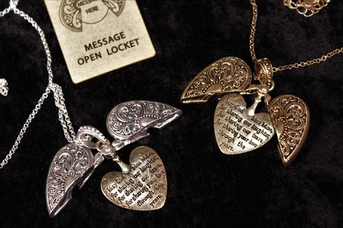 Moms Blessing Heart Locket Necklace Burnished Metal Two Sided for Mother