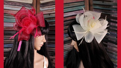 Flower and Feather Mesh Fascinator Hair Clip Headband Large Chic Statement Piece