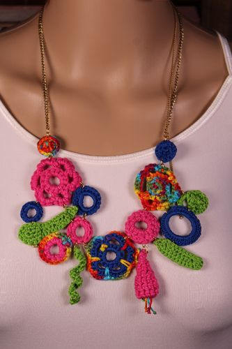 Boho Flowers Crochet Necklace Bold and Fun Statement Piece (Handmade)