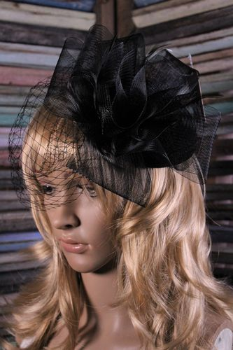 Black Fascinator Mesh Flower and Feather Leaf Netting Veil Mini Hat Head Band