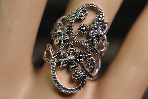 Sterling Silver and Marcasite Ring with Flowers on a Vine Statement Piece