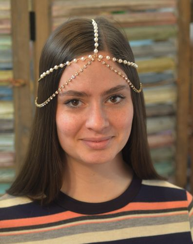 Pearl and Rhinestone Head Chain Gold Draping Bridal Prom Festival Hair Jewelry