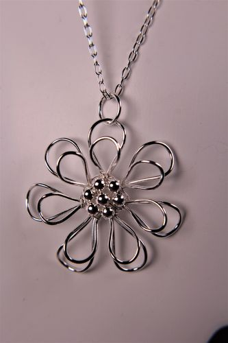 Sterling Silver Flower Necklace 3D Daisy Sunflower Pendant with Layers of Petals