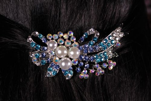 Pearl and Rhinestone Hair Clip Ribbon Bow Barrette with Aurora Borealis Crystals