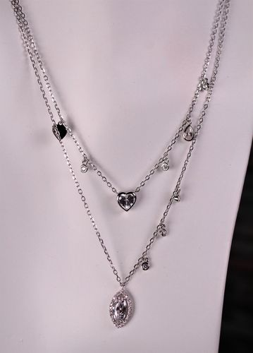 925 Sterling Silver Heart Necklace Layered Choker With Cubic Zirconia
