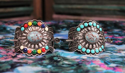 Turquoise Stick Barrette Burnished Silver Beaded Ornate Tribal Engraving