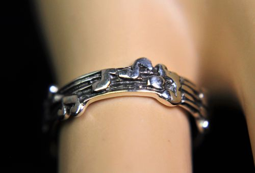 Sterling Silver Ring Musical Notes on Staff Whimsical Musicians Boho Band