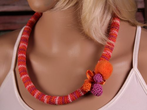 Pink Orange and Purple Cotton Crochet Necklace With Ribbon and Pompom Accent