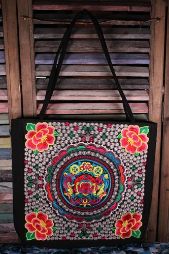 Boho Embroidered Tote Bag with Colorful Oriental Flower and Leaves Design