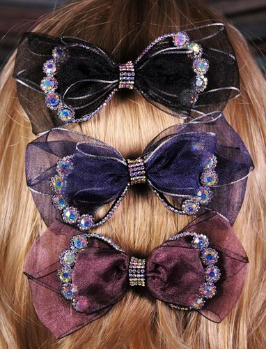 Mesh and Rhinestones Hair Bow Hair Clip Barrette with Aurora Borealis Crystals