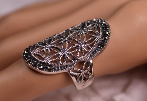 Sterling Silver and Marcasite Flower of Life Ring Sacred Geometry Spiritual Ring