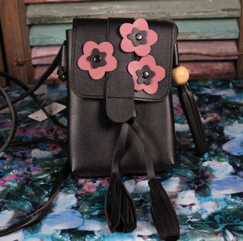 Flower Accent Mini Crossbody Bag Vegan Leather with Tassels and Three Flowers (2 Colors)