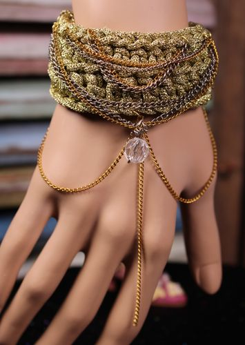 Gold Sparkly Knitted Boho Bracelet with Gold and Silver Draping Chains and Bead (Handmade)