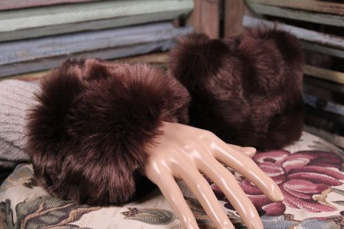 Faux Fur Arm Cuffs Hand Muffs Warm and Cozy Instant Glamour Fashion Accessory