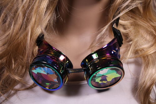 Steampunk Goggles Multi Color with Kaleidoscope Lens and Adjustable Strap