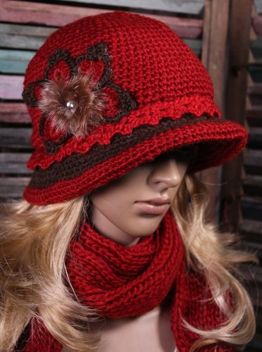 Crochet Brim Hat and Scarf Set Flower Design with Furry Center with Rhinestone