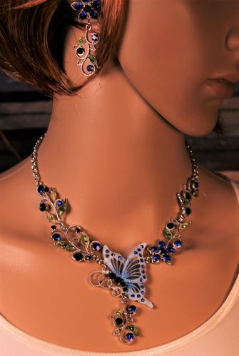Blue Butterfly Flower Rhinestones Necklace and Earrings Set