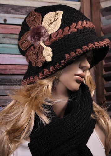 Crochet Hat & Scarf Set Beaded Flower with Fur & Pompoms