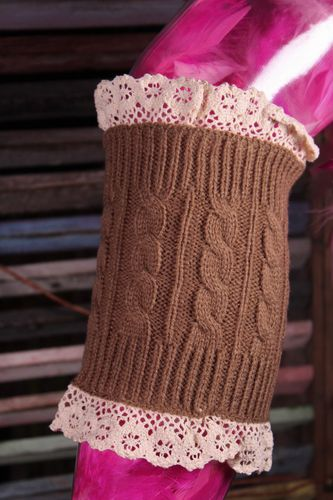 Lacy Boot Toppers Leg Warmers Cable Knit Double Lace Trim