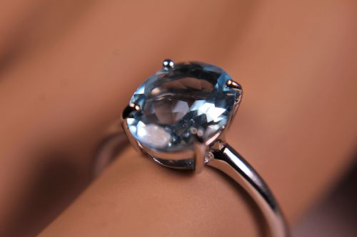 Ice Blue Topaz Cocktail Ring in Sterling Silver Band and Setting